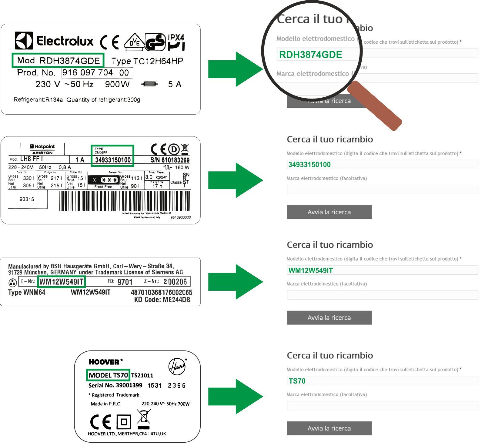 esempi - Ricambi Elettrodomestici Online   Expert Ricambi